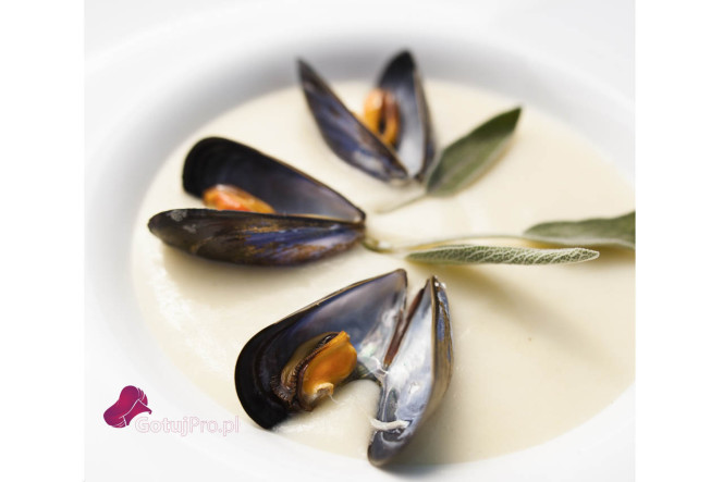 Zupa czosnkowa na białym winie z mulami i szałwią jest zupą skomponowaną z zaskakujących składników i początkowo może wydać się dziwna. Otóż nie ma nic bardziej mylnego. Muledoskonale komponuje się z winem i czosnkiem, a mleko nadaje potrawie delikatności. Natomiast, aromat szałwii doskonale podkreśla całą kompozycję.